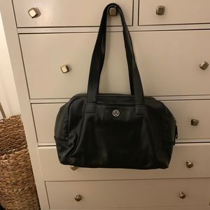Black Leather Lululemon Gym Bag